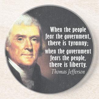 Dessous De Verre En Grès Citation de Thomas Jefferson sur la liberté