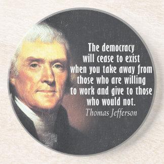 Dessous De Verre En Grès Citation de Thomas Jefferson sur le socialisme