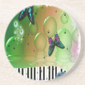 Dessous De Verre En Grès Clés de piano de papillons