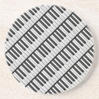 Dessous De Verre En Grès Clés noires et blanches de piano