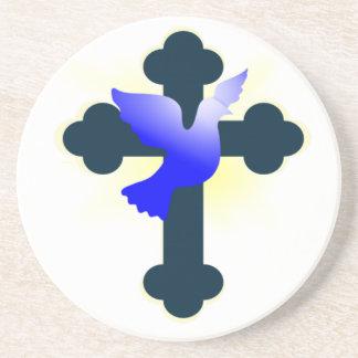 Dessous De Verre En Grès Colombe et croix
