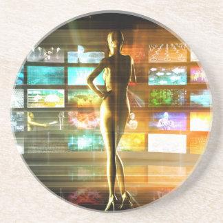 Dessous De Verre En Grès Concept de technologies de médias comme mur visuel