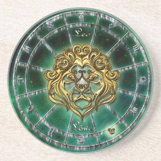 Dessous De Verre En Grès Conception d'astrologie de zodiaque de Lion