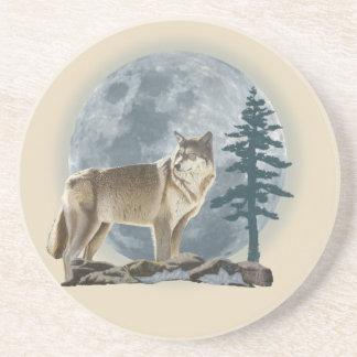 Dessous De Verre En Grès Conception de loup et de lune pour le caboteur de