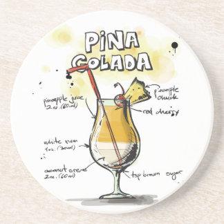 Dessous De Verre En Grès Conception de recette de boissons de Pina Colada