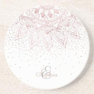 Dessous De Verre En Grès Conception rose élégante de confettis de mandala