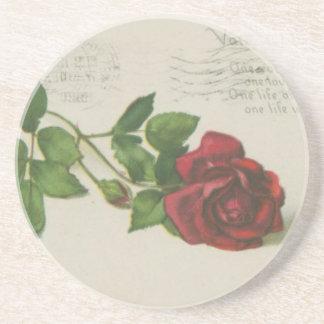 Dessous De Verre En Grès Copie de lettre de timbre de rose de cru