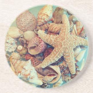 Dessous De Verre En Grès Coquilles 2 d'étoiles de mer et de mer -