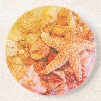 Dessous De Verre En Grès Coquilles d'étoiles de mer et de mer -