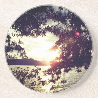 Dessous De Verre En Grès Coucher du soleil dans l'horizon