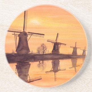 Dessous De Verre En Grès Coucher du soleil de moulins à vent - peinture