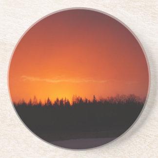 Dessous De Verre En Grès Coucher du soleil rouge de lueur