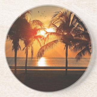 Dessous De Verre En Grès Coucher du soleil tropical