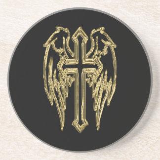 Dessous De Verre En Grès Croix catholique d'or avec des ailes