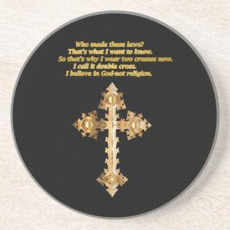 Dessous De Verre En Grès Croix chrétienne d'amusement d'or avec