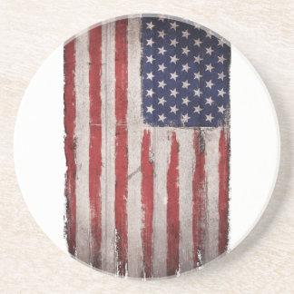 Dessous De Verre En Grès Cru grunge en bois de drapeau américain
