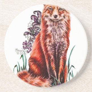 Dessous De Verre En Grès Dessin d'art animal rouge et de lis de Fox