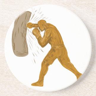Dessous De Verre En Grès Dessin de sac de sable à boxeur