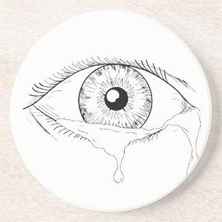 Dessous De Verre En Grès Dessin débordant pleurant de larmes d'oeil humain