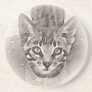 Dessous De Verre En Grès Dessin mignon de chaton du Bengale