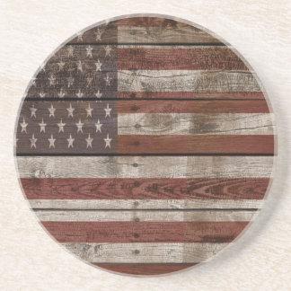 Dessous De Verre En Grès Drapeau américain en bois