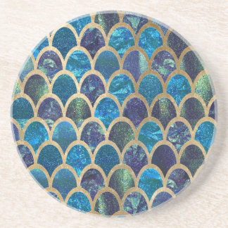 Dessous De Verre En Grès Échelles turquoises de sirène