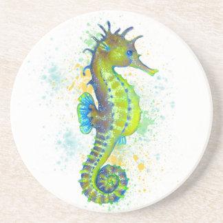 Dessous De Verre En Grès Éclaboussure d'hippocampe de vert jaune