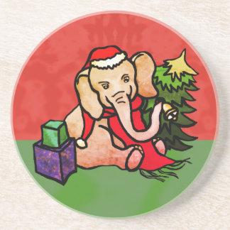 Dessous De Verre En Grès Éléphant mignon de Père Noël de Noël avec Bell et