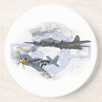 Dessous De Verre En Grès Escorte de vol du mustang P-51
