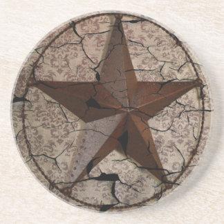 Dessous De Verre En Grès Étoile de Texas primitive rustique de pays
