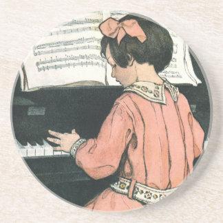 Dessous De Verre En Grès Fille vintage de musique de piano par Jessie
