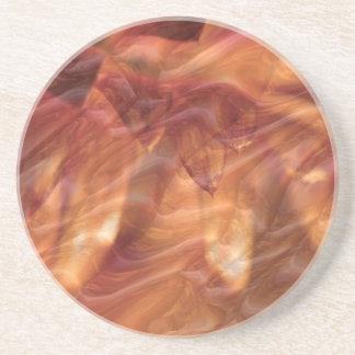 Dessous De Verre En Grès Fleur rose de diamant de cuivre d'or