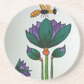 Dessous De Verre En Grès Fleurs de Lotus avec l'abeille