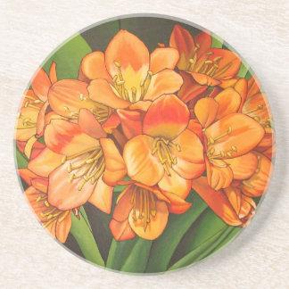 Dessous De Verre En Grès Fleurs oranges