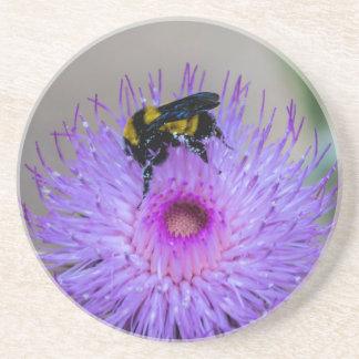 Dessous De Verre En Grès Fleurs sauvages de pollination d'abeille