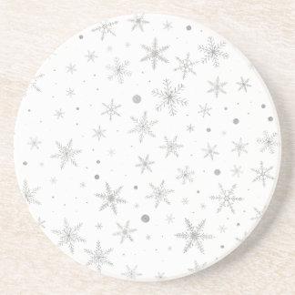 Dessous De Verre En Grès Flocon de neige de scintillement - gris et Blanc