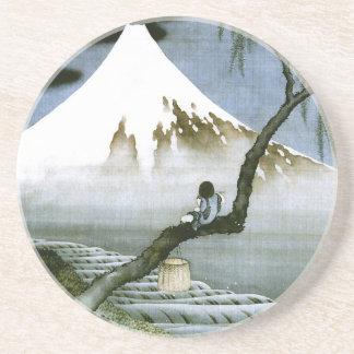 Dessous De Verre En Grès garçon de 北斎 et beaux-arts de Mt Fuji