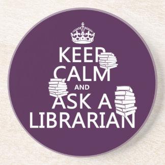 Dessous De Verre En Grès Gardez le calme et demandez à un bibliothécaire