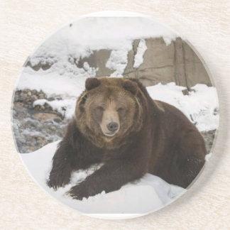 Dessous De Verre En Grès Grand ours gris féminin dans la neige