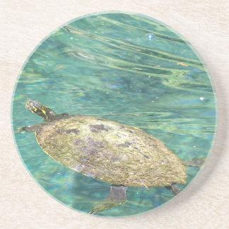 Dessous De Verre En Grès grande natation de tortue de rivière