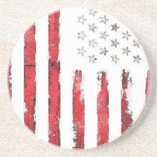 Dessous De Verre En Grès Grunge ROUGE vintage de drapeau américain