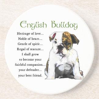 Dessous De Verre En Grès Héritage anglais de chiot de bouledogue de l'amour