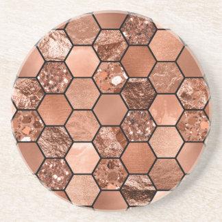 Dessous De Verre En Grès Hexaglam rose d'or