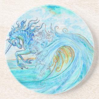 Dessous De Verre En Grès Hippocampe bleu de cheval de poissons de licorne