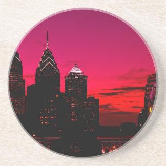 Dessous De Verre En Grès Horizon de coucher du soleil de Philadelphie