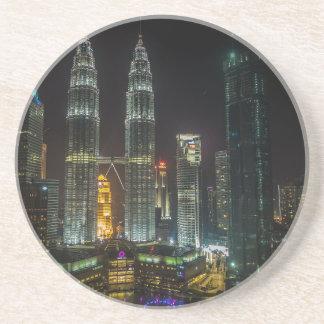 Dessous De Verre En Grès Horizon de Kuala Lumpar la nuit