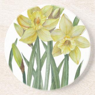 Dessous De Verre En Grès Illustration de portrait de fleur de jonquilles