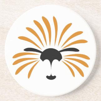 Dessous De Verre En Grès Illustration solaire de lion, drôle, bande