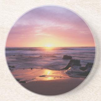 Dessous De Verre En Grès La Californie, San Diego, falaises de coucher du