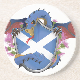 Dessous De Verre En Grès La croix de St Andrew écossais bleu de dragon